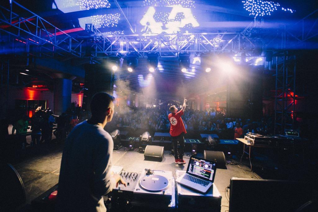 Cal performs with DJ Kev the Goon at Ubahn Festival in Cincinnati, OH on October 16, 2015 - Photo by Lexie Alley